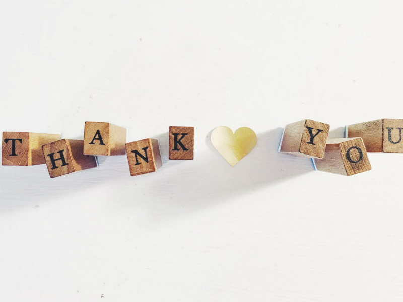 thank you written in wooden blocks