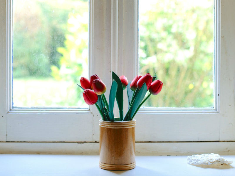 tulips in vase at home