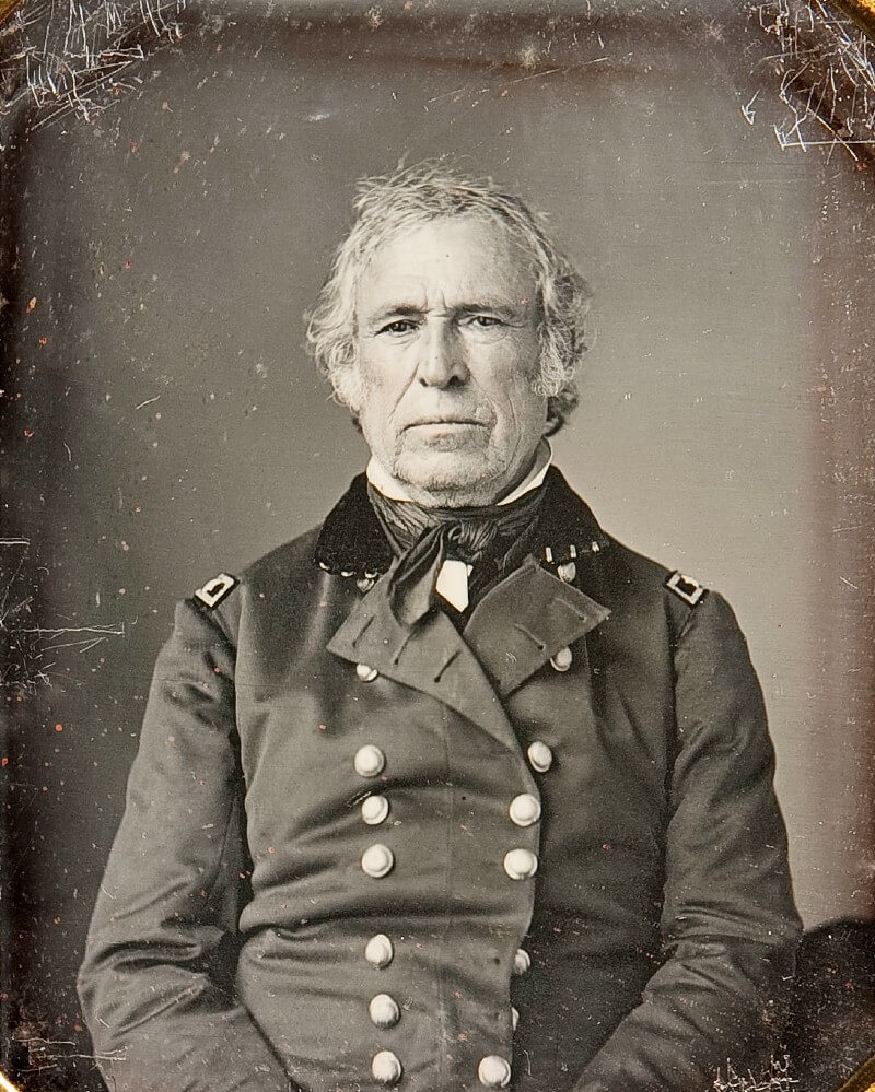 Black and white photograph of Zachary Taylor in military uniform