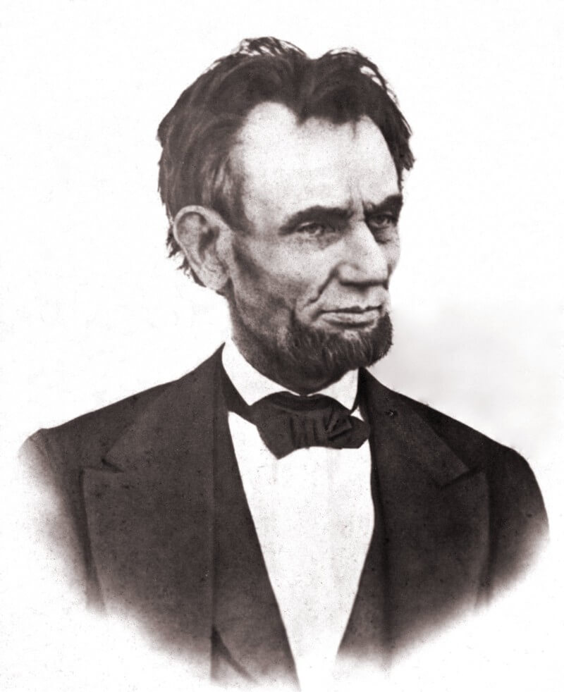 Black and white photograph of Abraham Lincoln head and shoulders