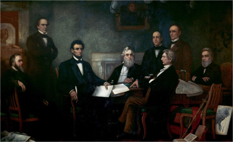Copy of Francis Bicknell Carpenter's painting; 'First Reading of the Emancipation Proclamation by President Lincoln