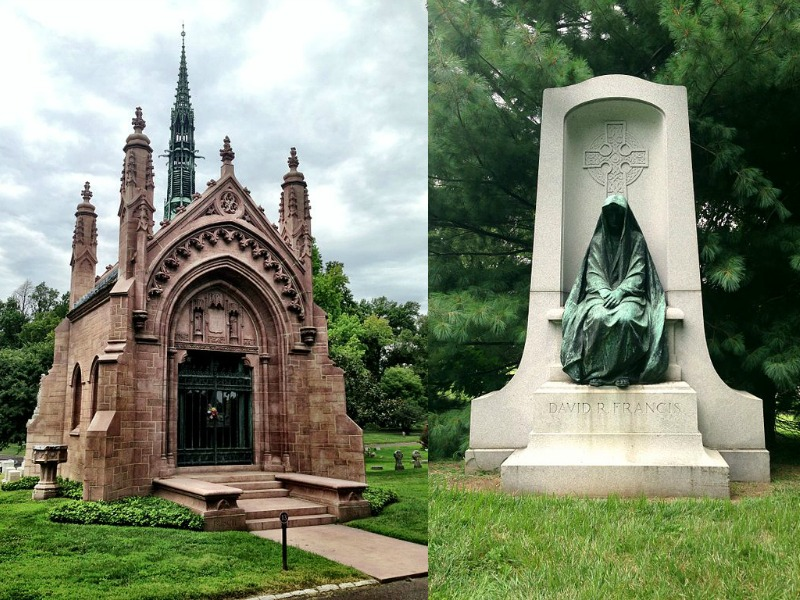 An ornate chapel of rest and strking memorial statue at Bellefontaine cemetery