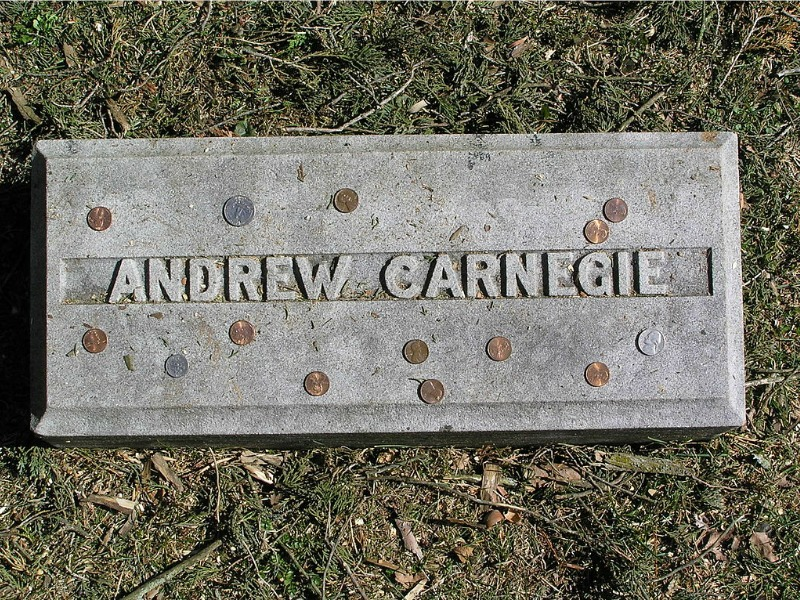 Pennies laid on the gravestone of Andrew Carnegie