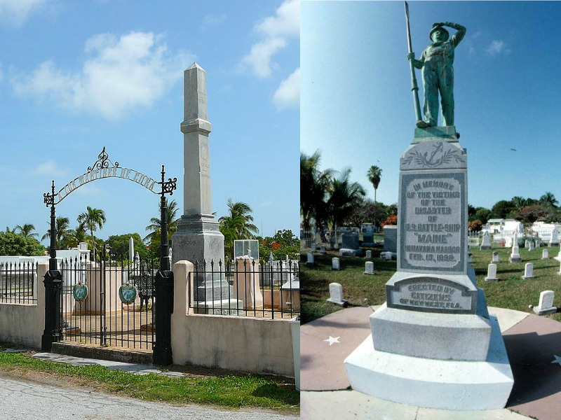 The gateway into Key West Cemetery and a memorial statue in memory of the victims of the battleship Maine disaster at sea