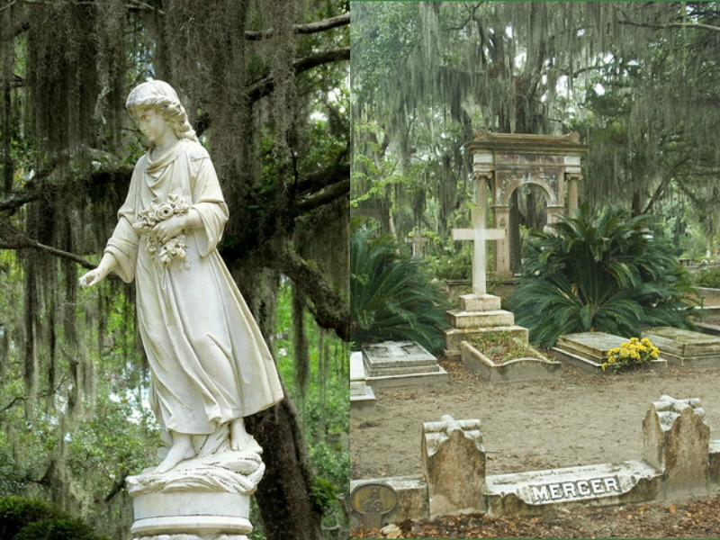 Weeping trees over statues and memorials at Bonaventure Cemetery