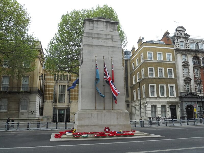 View of Cenotaph with Rememberance wreaths on the steps!
