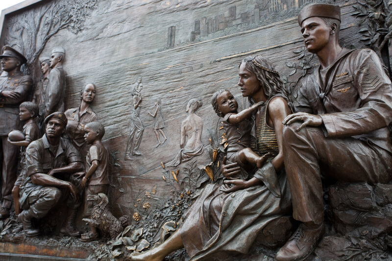 Close-up of bronze relief memorial at Soldier Field!