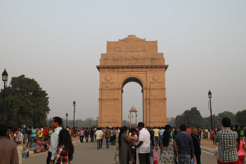 View of India Gate with people in front of it!