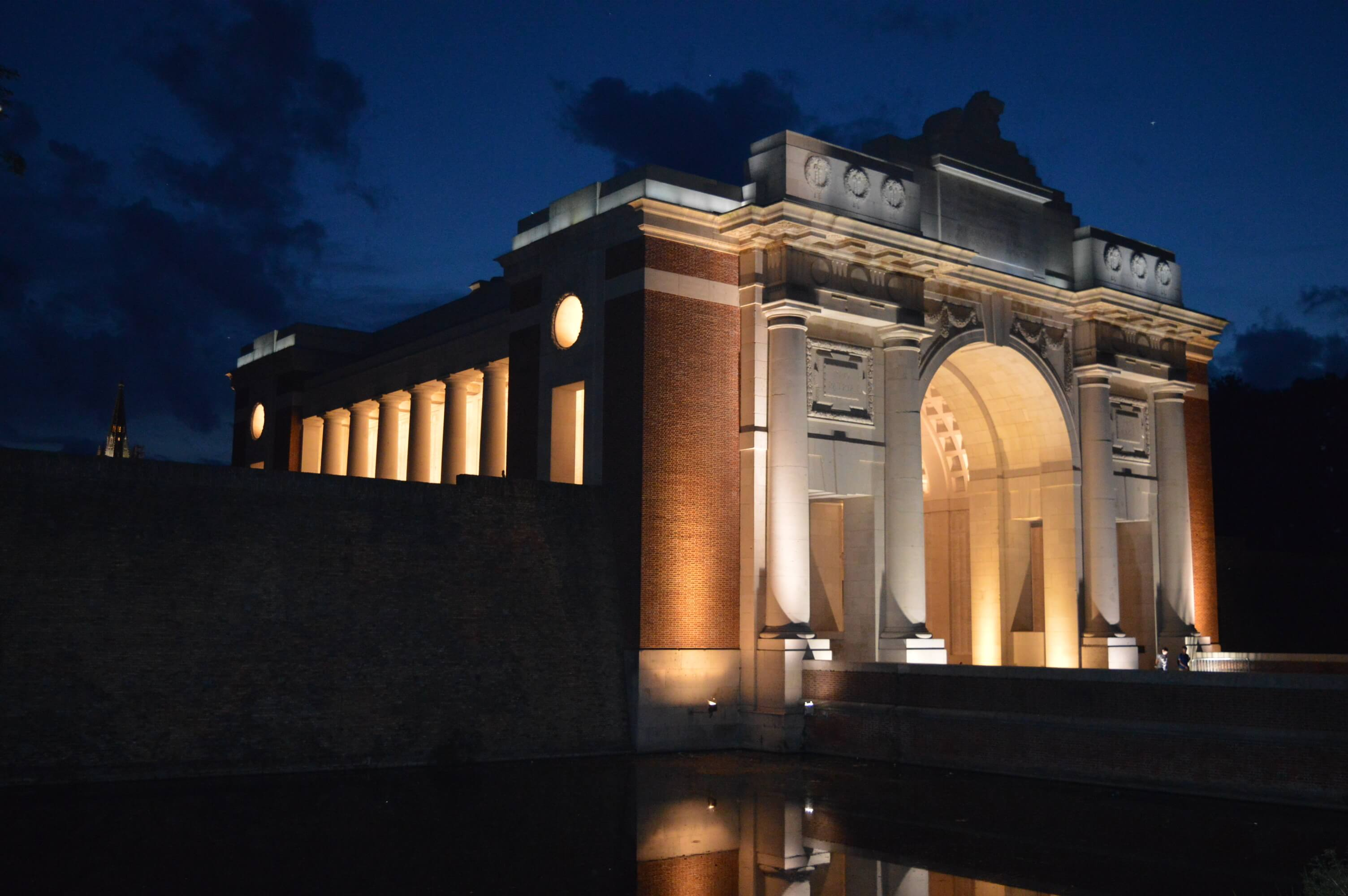 View of Menin Gate at night across the town moat, at night!