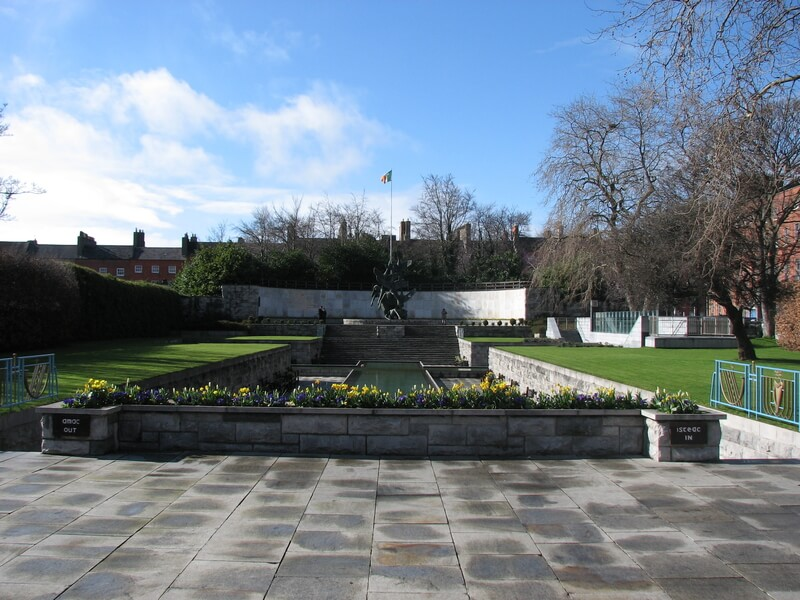 View of pond in the Garden of Remembrance, with Irish tricolor at far end!