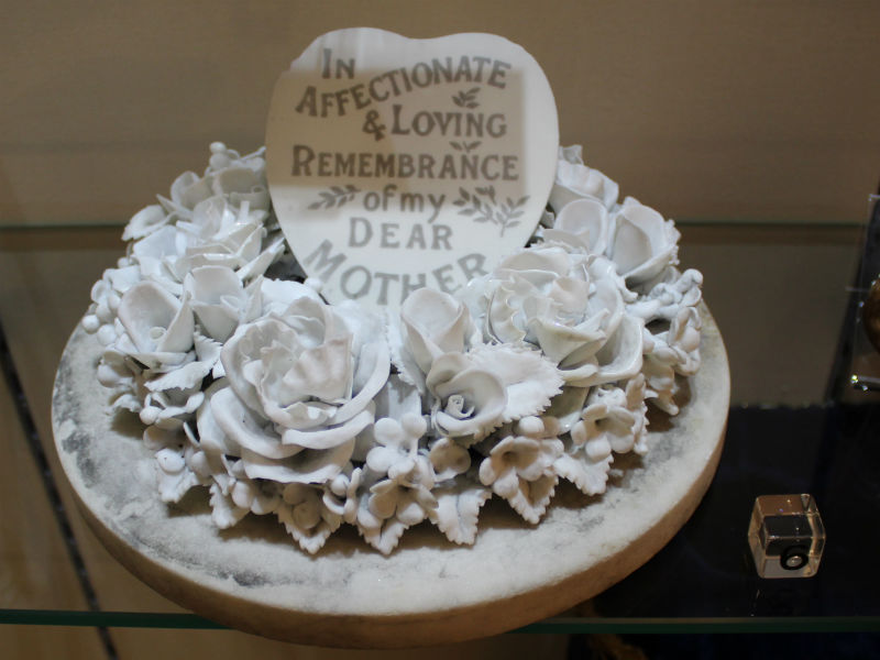 A manufactured Victorian mourning ornament in memory of a mother