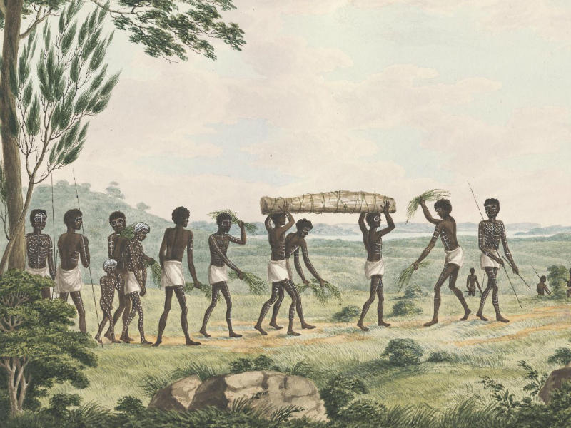Painting showing Aboriginal funeral procession