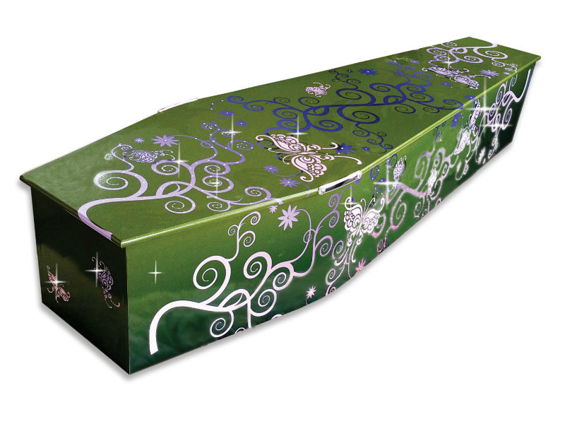 a Green coffin embellished with pink swirls and crystals