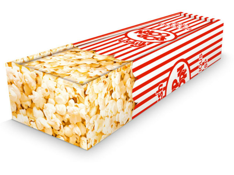 This coffin looks like a giant cinema-style popcorn box
