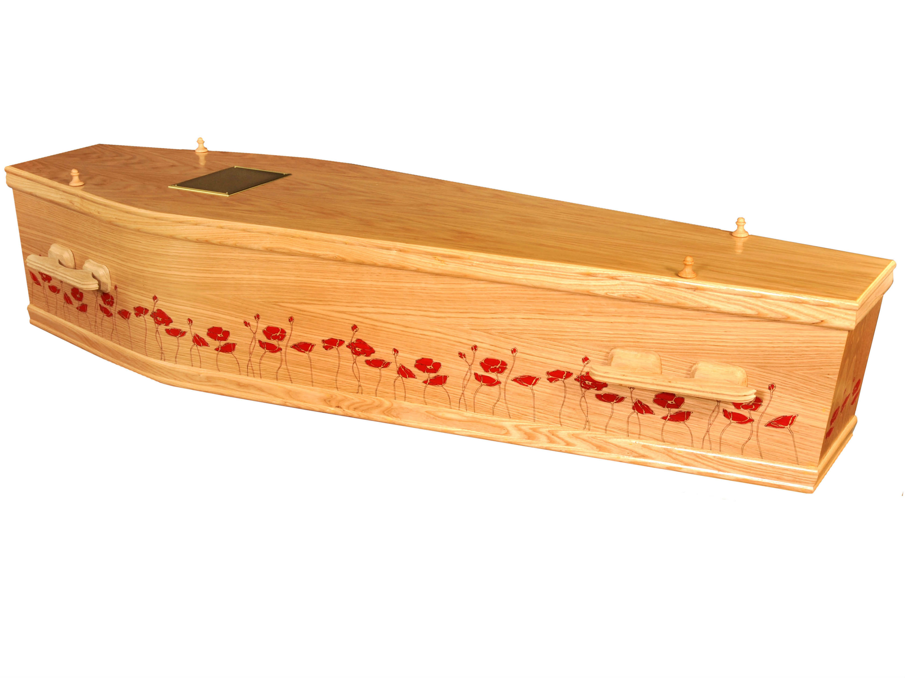Red poppies painted on a light oak coffin