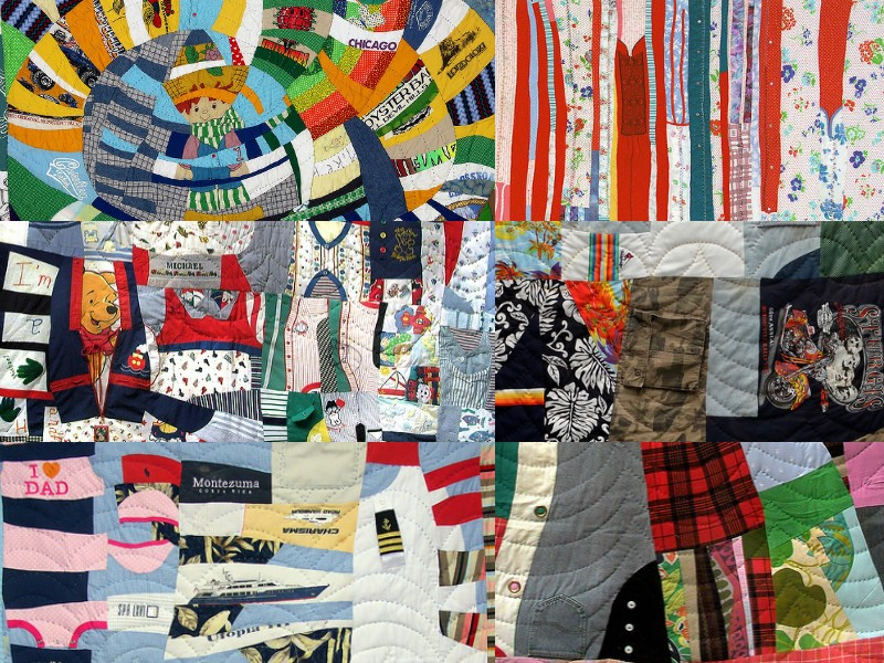 A collage of artist Lynn Wood's memory quilts