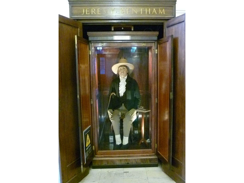Jeremy Bentham on display at UCL