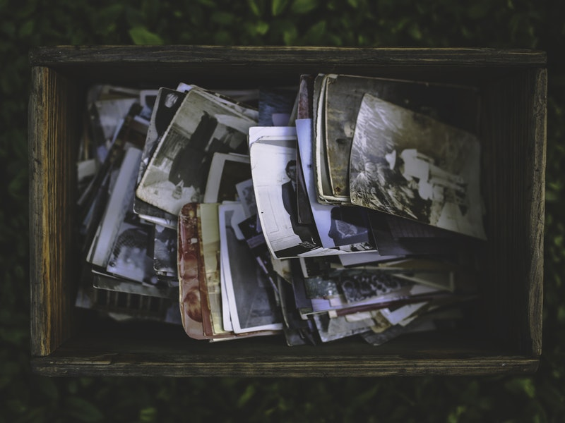 a box of old photos