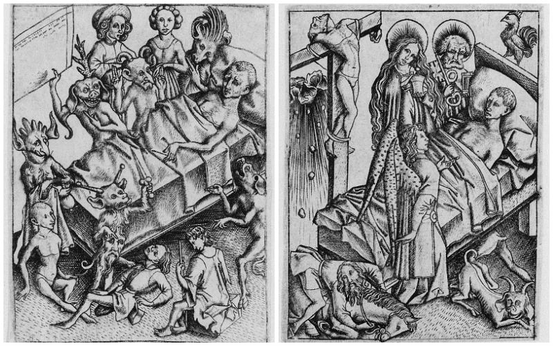 A black and white woodcut from Ars Moriendi, showing grotesque devil figures around the dying man's bed, and angels looking down upon him