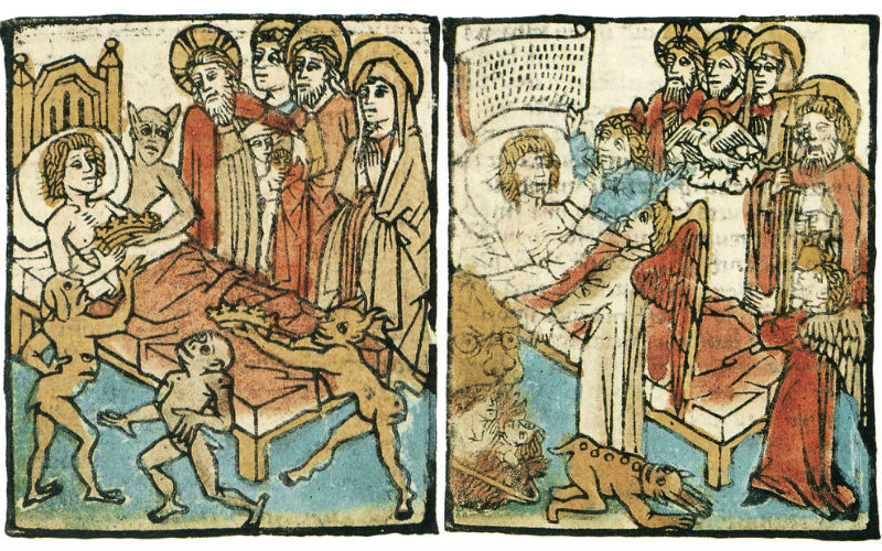 Coloured illustration of devils and angels surrounding a dying man. One devil holds out a crown to him in temptation