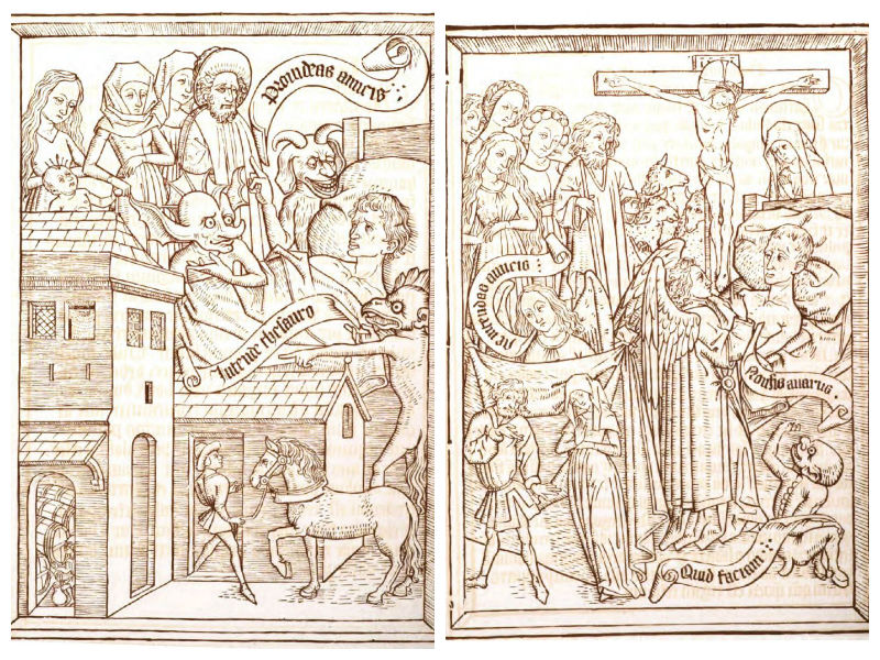 Woodcuts from Ars Moriendi. In the first image, devils tempt the dying man with an elaborate house and horse to represent worldly possessions