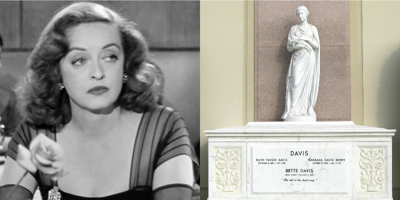 Bette Davis and her tomb in Los Angeles