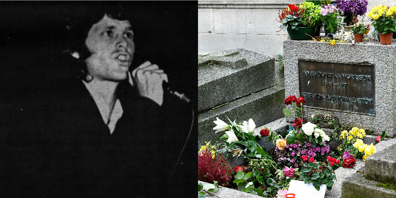 Jim Morrison and his grave in Père Lachaise Cemetery