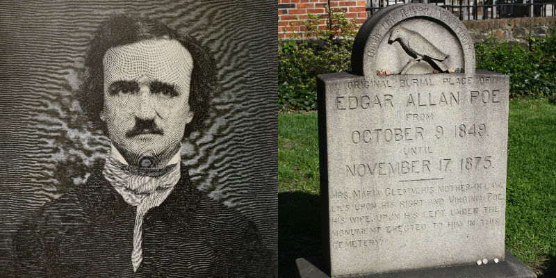 Edgar Allan Poe and his original burial site
