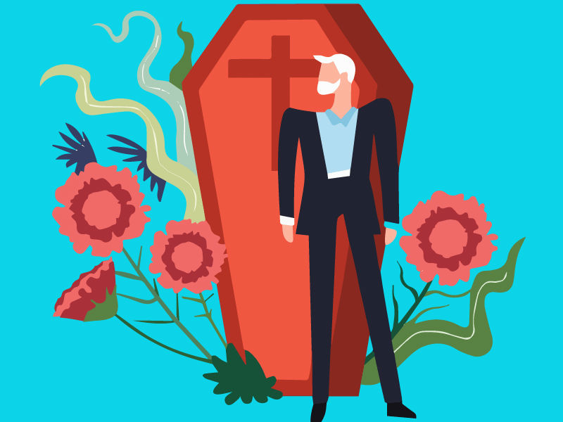 burial clothes - vector image of man in suit and a coffin
