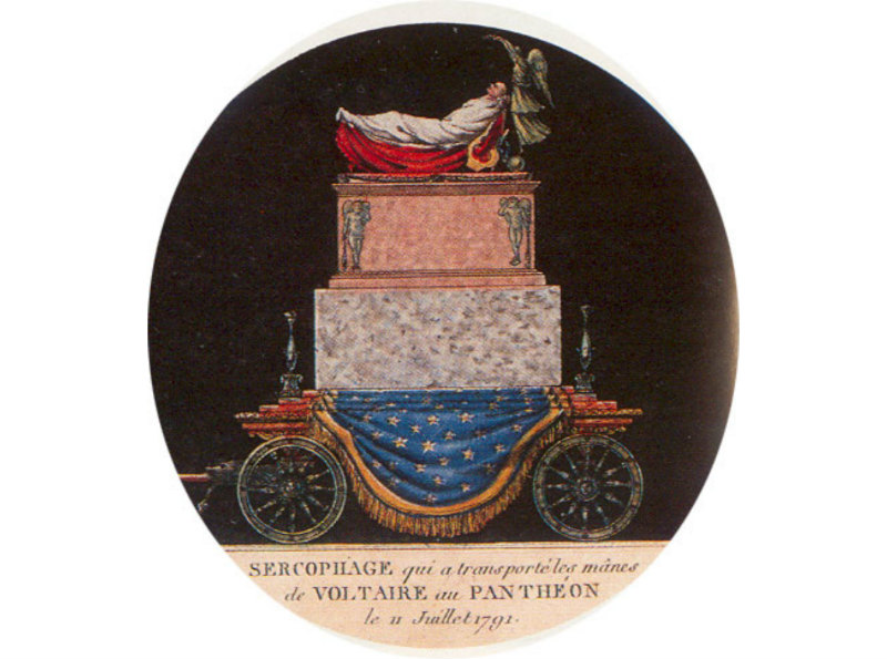 An artist's representation of Voltaire's catafalque