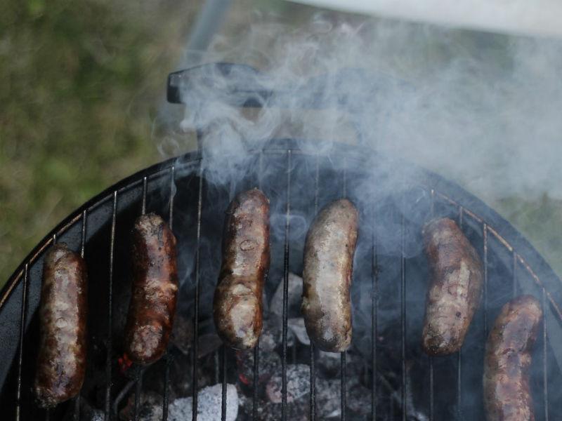 sausages on barbeque via Unsplash
