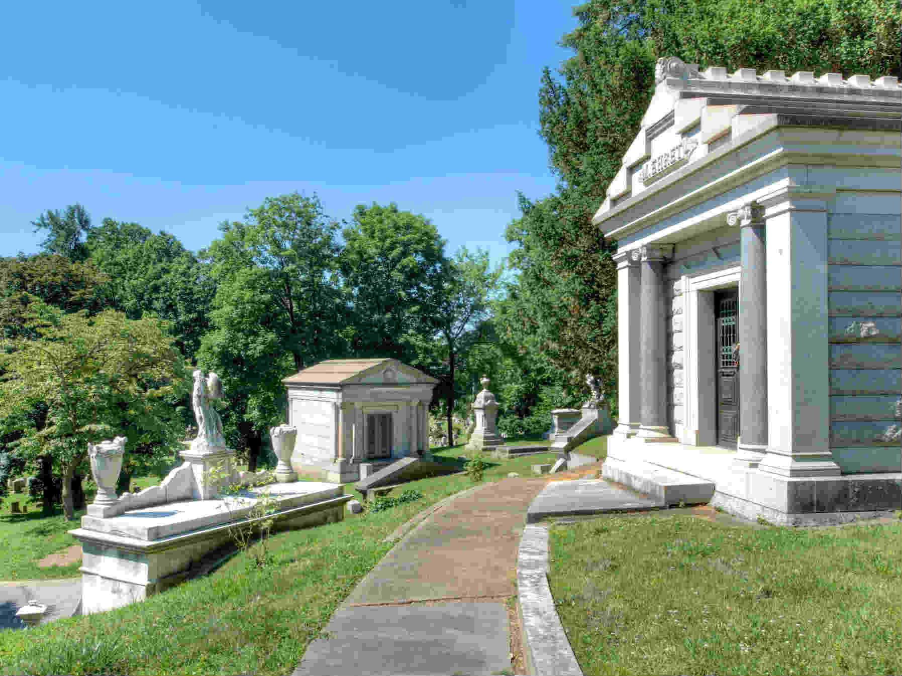 Staues and stone mausoleums at Laurel Hill Cemetery