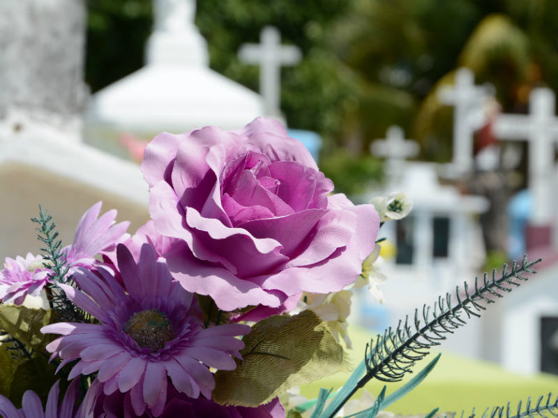 Bright pink flower arrangement in a cemetery