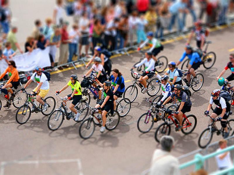 Competitors on a bike ride