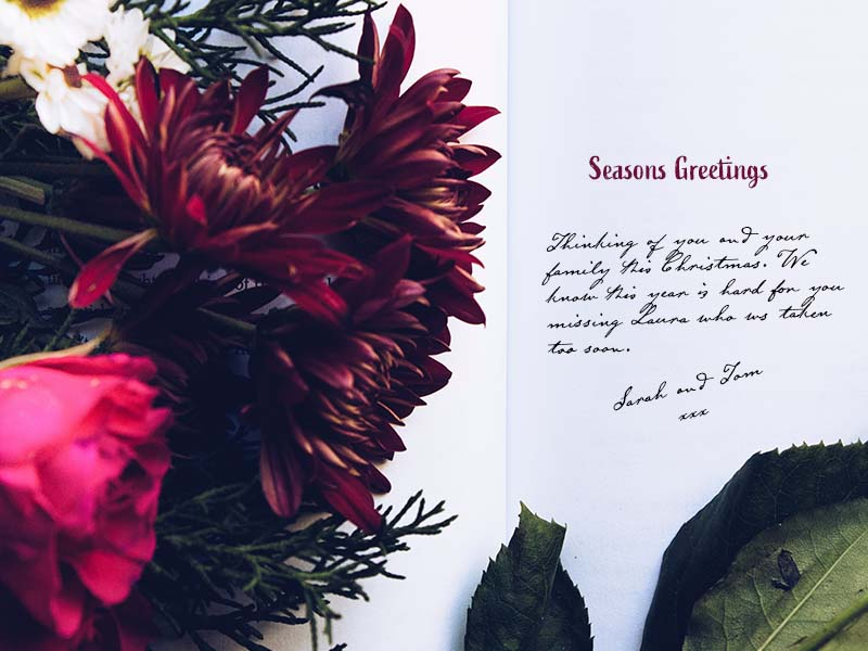 Christmas remembrance, remembering someone on a Christmas card