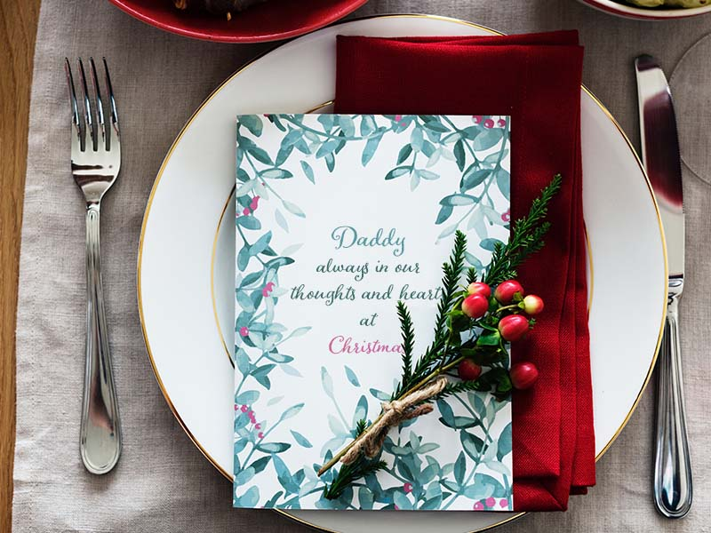 Christmas in Heaven ideas - memorial table setting