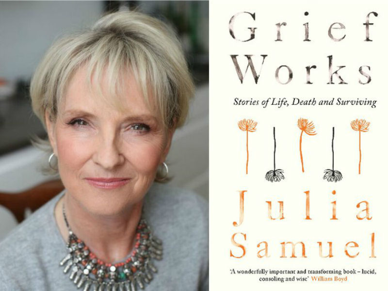 Julia Samuel portrait and Grief Works book cover