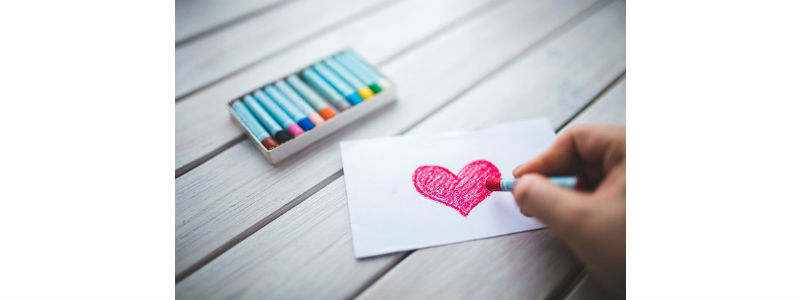 Coloring a picture of a heart