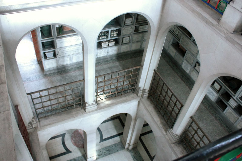 A view down through one section of the Golders Green Columbarium