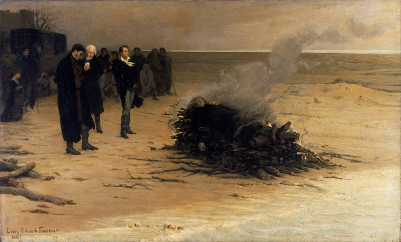 Image of Louis Edouard Fournier's funeral pyre on the beach, attended by Lord Byron and other friends, with other mourners. Mary Shelley is kneeling with hands clasped in the background