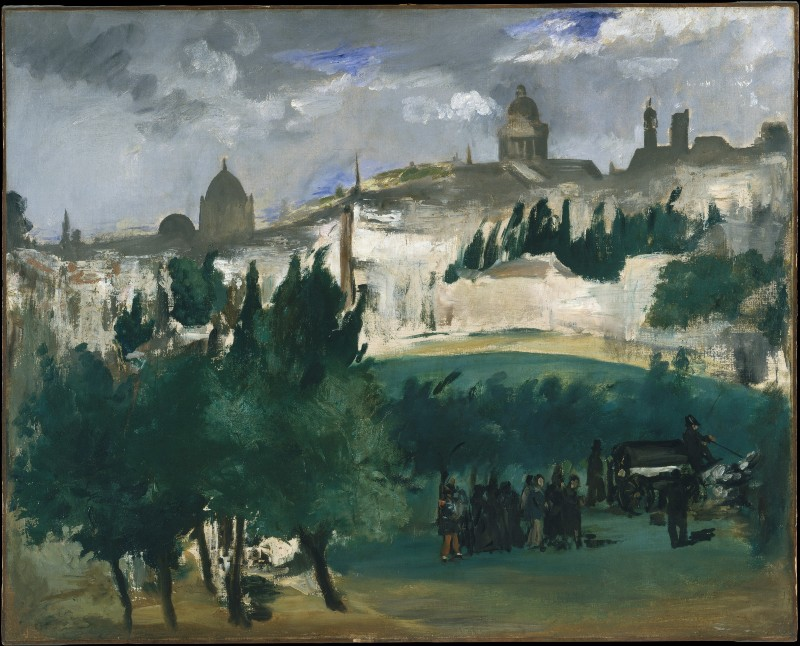 Copy of Manet's unfinished painting, 'The Funeral,' depicting an impressionist rendering of a funeral procession in the countryside