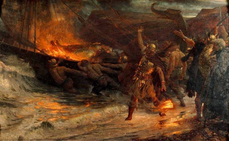 Image of Frank Dicksee's funeral of a viking painting, depicting Vikings in neo-classical outfits, launching a burning boat with a dead friend on-board into the sea during a storm