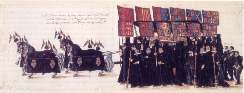 Extract from illustration of the Funeral Procession of Elizabeth I, displaying the queen's coffin on a carriage being pulled by horses and escorted by knights