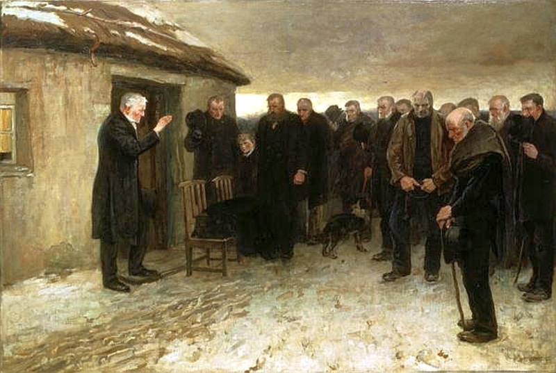 Copy of Sir James' Guthrie's Highland Funeral painting depicting an all-male group of Victorian mourners attending a funeral blessing outside a house in the winter