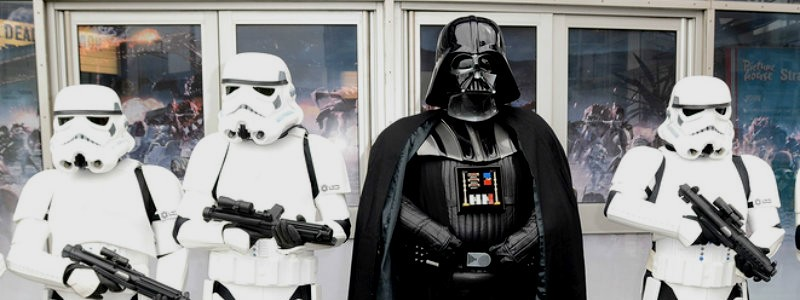 Sci-fi fans dressed as Darth Vader and stormtroopers for a funeral