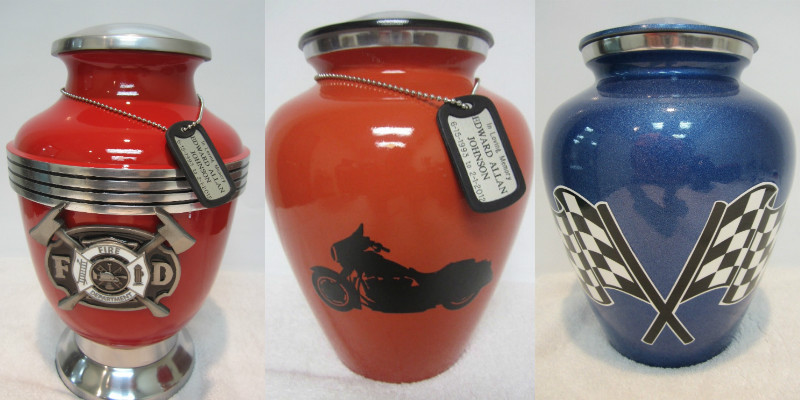 Aluminium urns with motorbike and racing flag detail