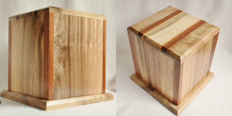 Cube-shaped wooden cremation urn