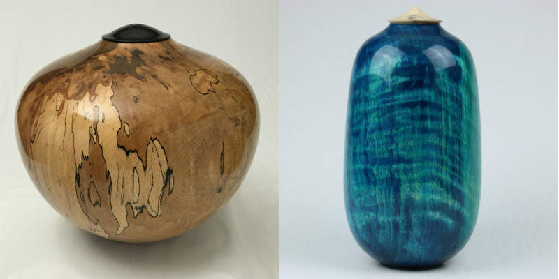 Polished woodturned urns in natural colour and blue