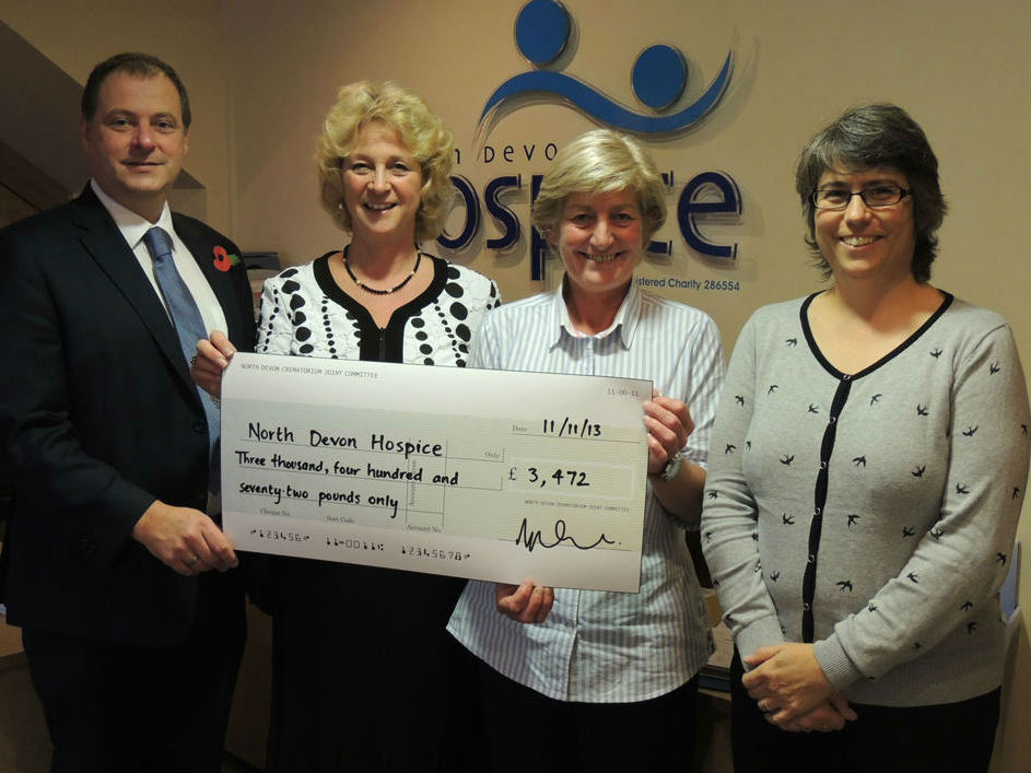 A cheque presentation to the North Devon Hospice