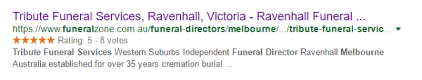 Screenshot of Funeral Guide star ratings appearing next to Google listings
